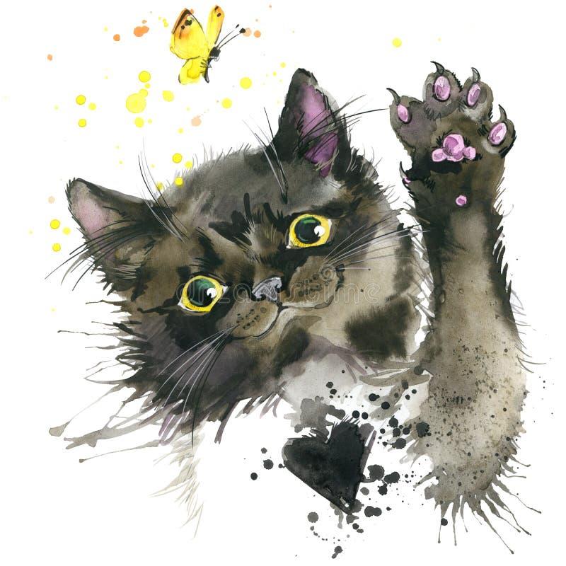 Czarnego kota ilustracja z pluśnięcie akwarelą textured tło ilustracja wektor