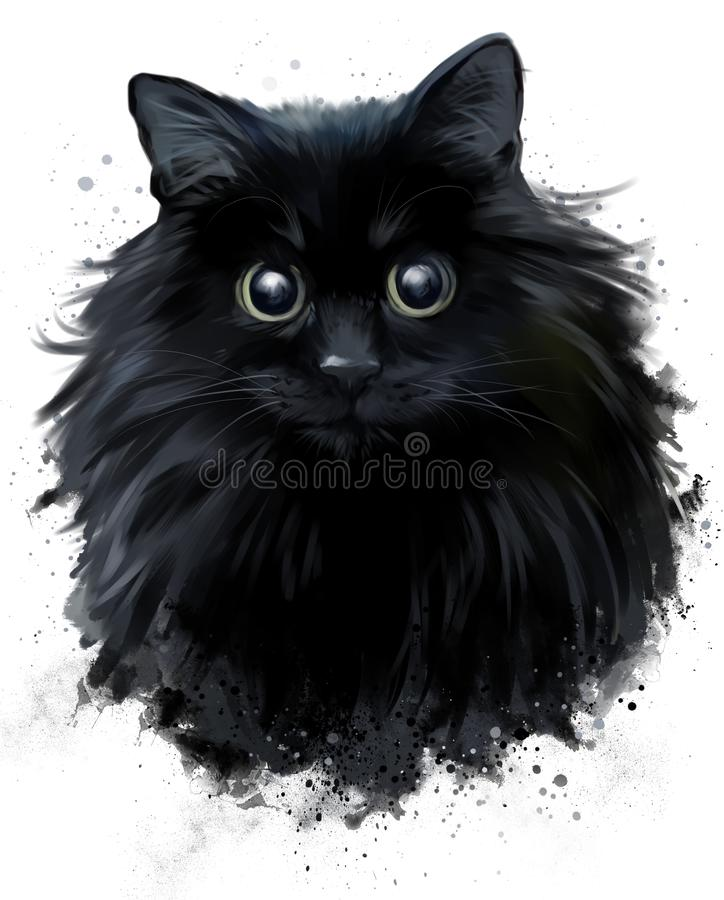 Czarnego kota rysunek w grunge stylu ilustracji