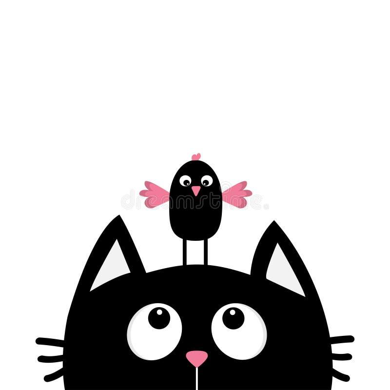 Czarnego kota twarzy głowy sylwetka patrzeje do śmiesznego ptaka Śliczny postać z kreskówki ilustracji