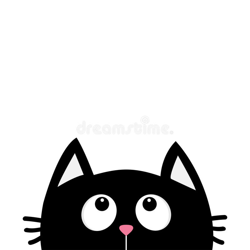 Czarnego kota twarzy głowy sylwetki przyglądający up Śliczny postać z kreskówki Kawaii zwierzę przyjazdowa dziecka karty zabawy i ilustracja wektor