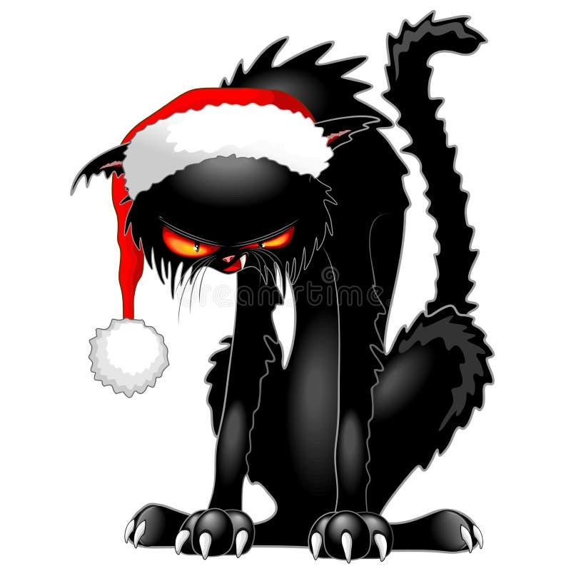 Czarnego kota Zły Gniewny Śmieszny charakter royalty ilustracja