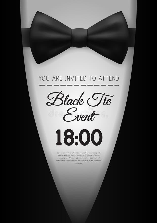 A4 czarnego krawata wydarzenia zaproszenia Elegancki szablon obrazy stock