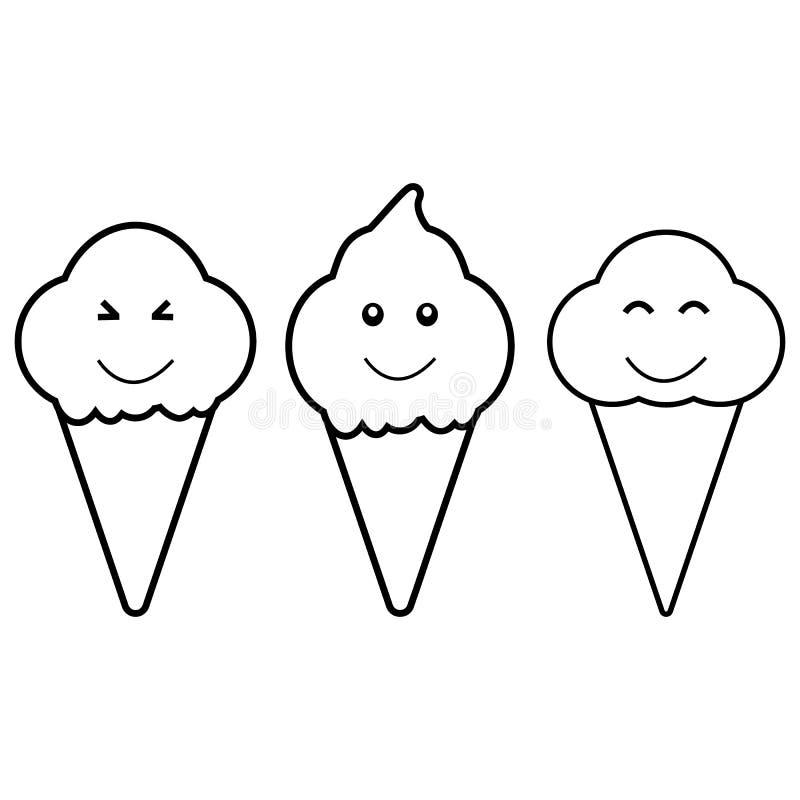 Czarnego kreskówka lody ustalona ikona odizolowywająca na białym tle royalty ilustracja