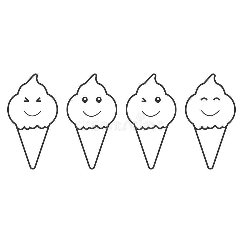 Czarnego kreskówka lody ustalona ikona odizolowywająca na białym tle ilustracja wektor