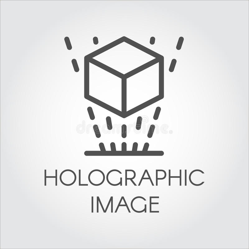 Czarnego kreskowego ikona wirtualnego holograma technologii cyfrowej projekcyjna przyszłość ilustracja wektor