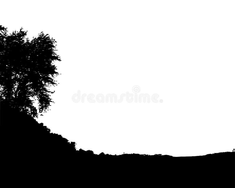 Czarnego lasu sylwetka pojedynczy białe tło wektor ilustracja wektor