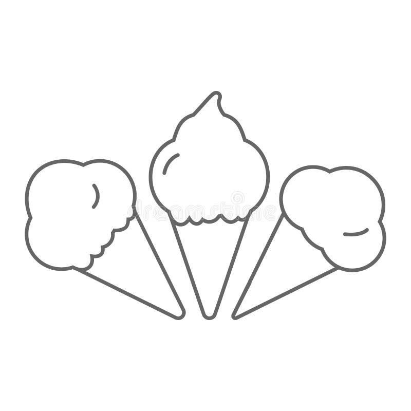 Czarnego lody ustalona ikona odizolowywająca na białym tle ilustracji
