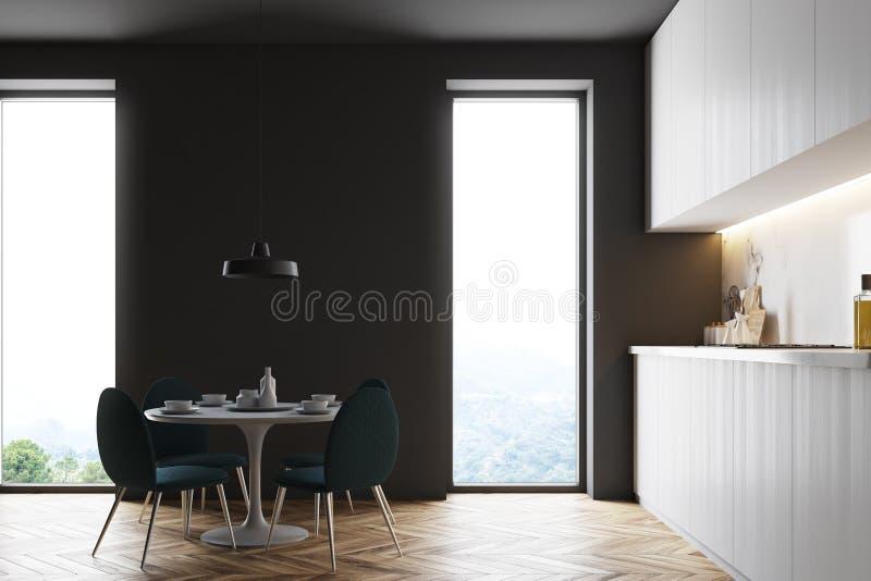 Czarnego loft kuchenny wnętrze, round stół royalty ilustracja