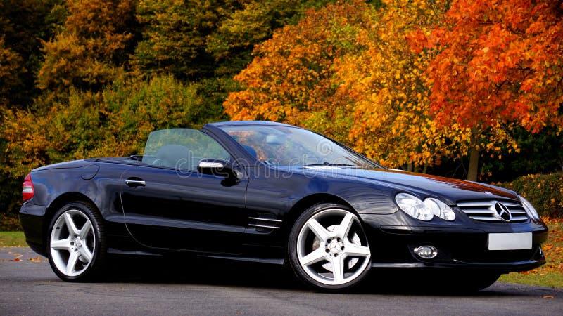 Czarnego Mercedez Benz Coupe Sl Odwracalna klasa zdjęcia royalty free