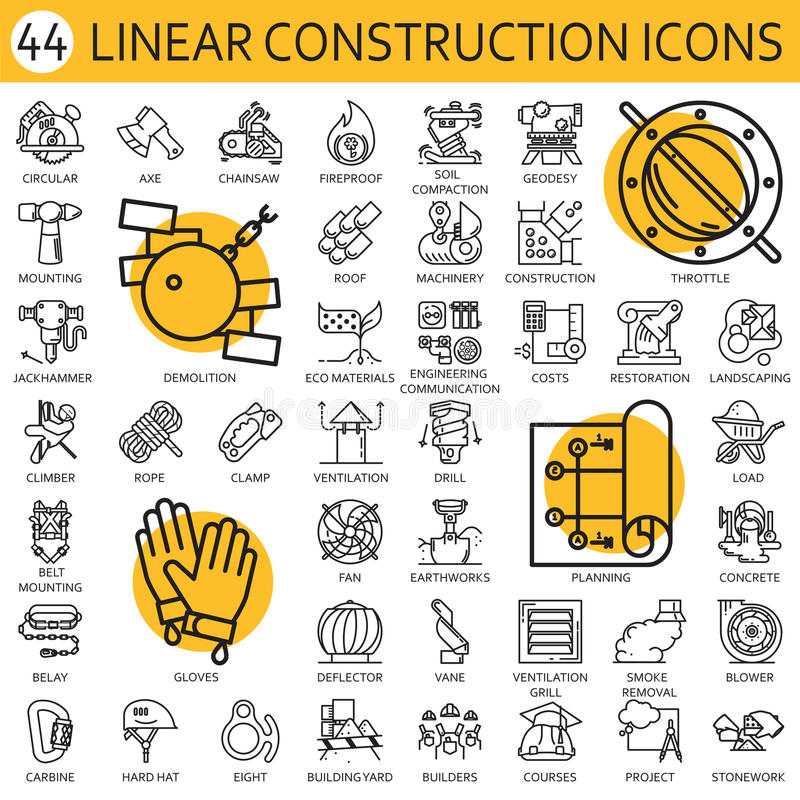 Czarnego mieszkanie linii wektoru ustalona ikona z obrazkiem symbol budowy wyposażenia budowy narzędzie na białym tle ilustracji