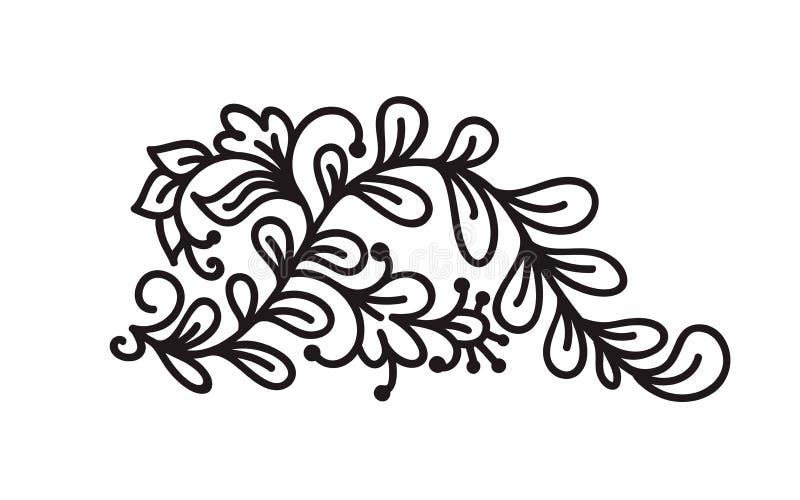 Czarnego monoline zawijasa monograma scandinavian wektor z liśćmi i kwiatami Kąty i dividers dla walentynka dnia royalty ilustracja