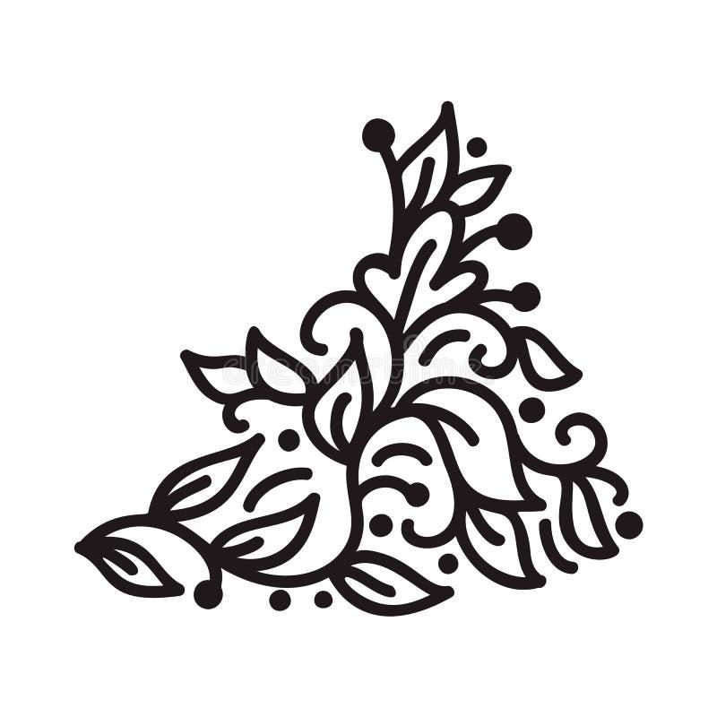 Czarnego monoline zawijasa monograma scandinavian wektor z liśćmi i kwiatami Kąty i dividers dla walentynka dnia ilustracja wektor