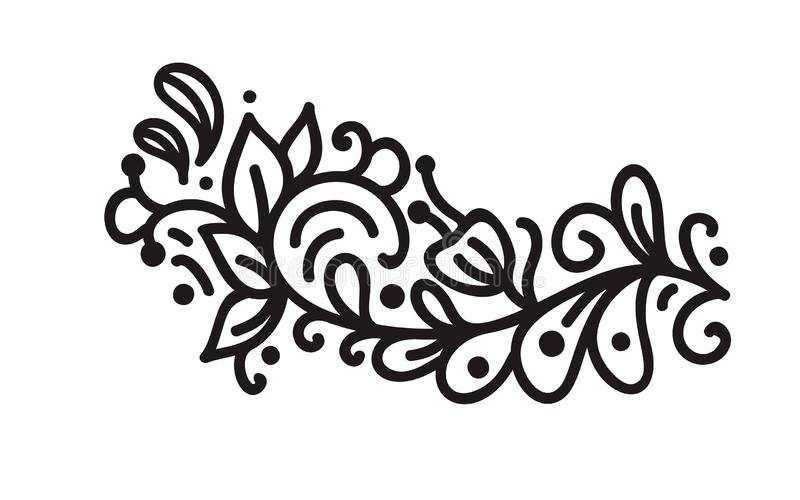Czarnego monoline zawijasa monograma scandinavian wektor z liśćmi i kwiatami Roczników dividers dla i kąty royalty ilustracja