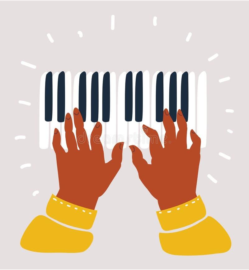Czarnego muzyka ręki bawić się na fortepianowych kluczach ilustracja wektor