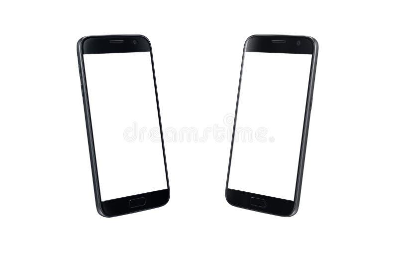 Czarnego nowożytnego mądrze telefonu isometric widok Bielu ekran dla mockup, odizolowywający obrazy royalty free