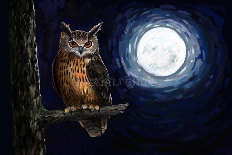 czarnego orła ciągnącego atramentu sowy ilustracyjny wektora ilustracji