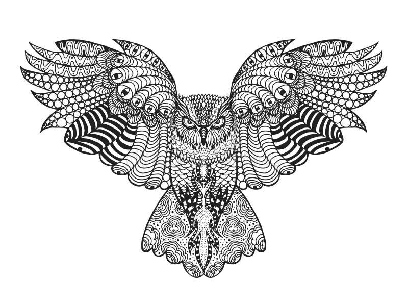 czarnego orła ciągnącego atramentu sowy ilustracyjny wektora Dorosła antistress kolorystyki strona zdjęcia royalty free