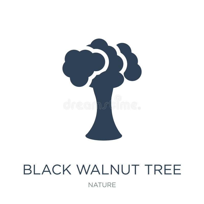 czarnego orzecha włoskiego drzewa ikona w modnym projekta stylu czarnego orzecha włoskiego drzewa ikona odizolowywająca na białym ilustracja wektor