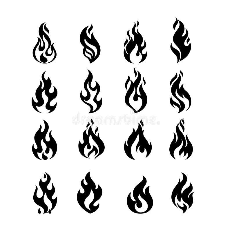 Czarnego palenie ogienia płomienia loga projekta wektoru ustalony szablon ilustracja wektor