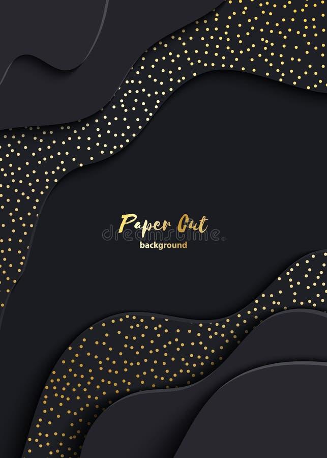 Czarnego papieru rżnięty 3d tło Abstrakcjonistycznego realistycznego papercut faliste warstwy z złotym błyskają Wektorowa ilustra ilustracji