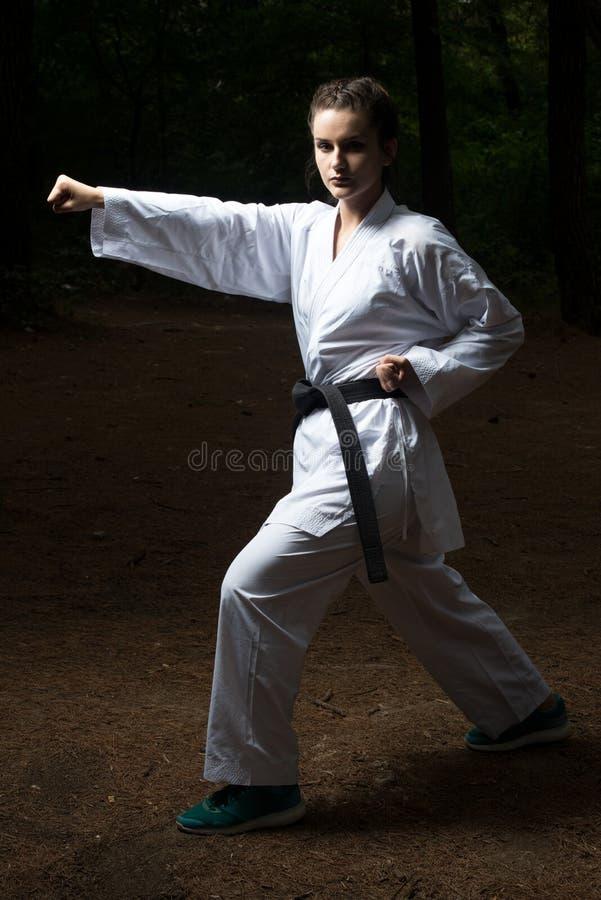 Czarnego paska karate ekspert Z walki postawą fotografia stock