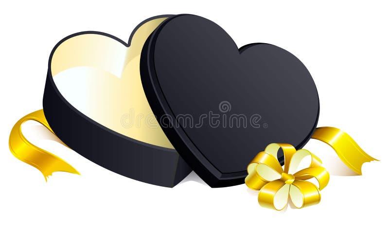 Czarnego prezenta otwarty pudełkowaty kierowy kształt ilustracji