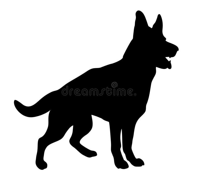 Czarnego psa sylwetka na białym tle royalty ilustracja