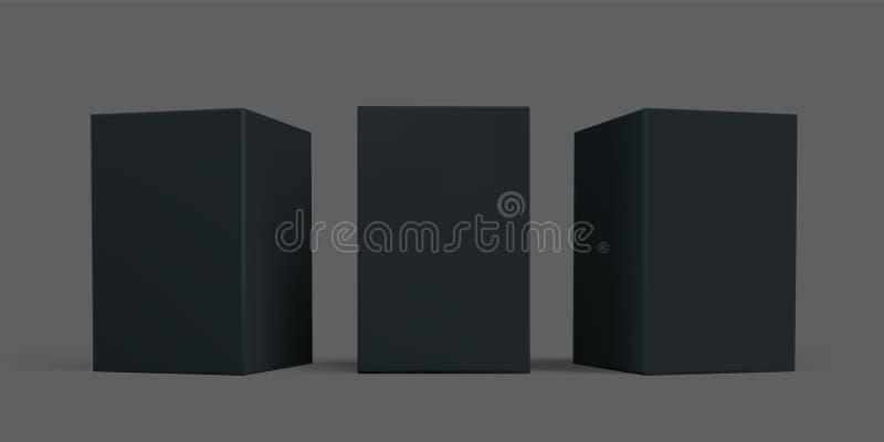 Czarnego pudełka pakunek w górę Wektorowi czarni kartonu papieru lub kartonu pakunku pudełka, odosobniony 3D modelują szablony royalty ilustracja
