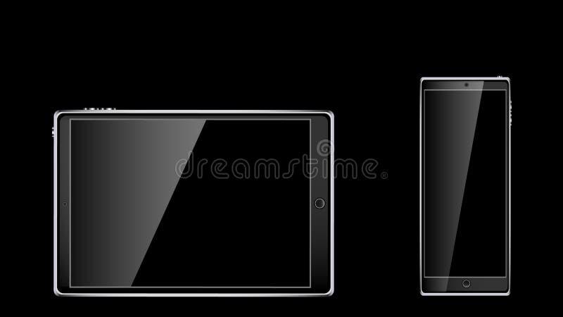 Czarnego realistycznego mobilnego dotyka mądrze pastylki komputerowi i dwa telefony komórkowi, smartphone z glansowanym pustym ek ilustracja wektor