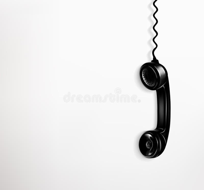 Czarnego rocznika telefoniczny handset na białym tle ilustracji