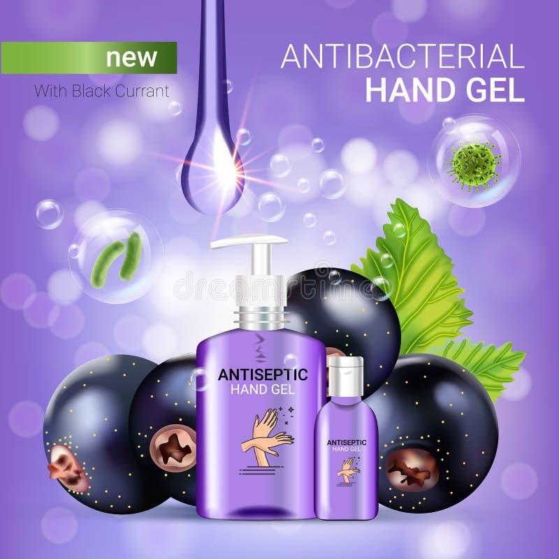 Czarnego rodzynku smaku ręki gel antibacterial reklamy Wektorowa ilustracja z antyseptycznym ręki gel w butelkach i blackcurrant  royalty ilustracja