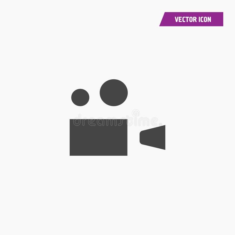 Czarnego stałego płaskiego rocznika kamery kinowa ikona ilustracji