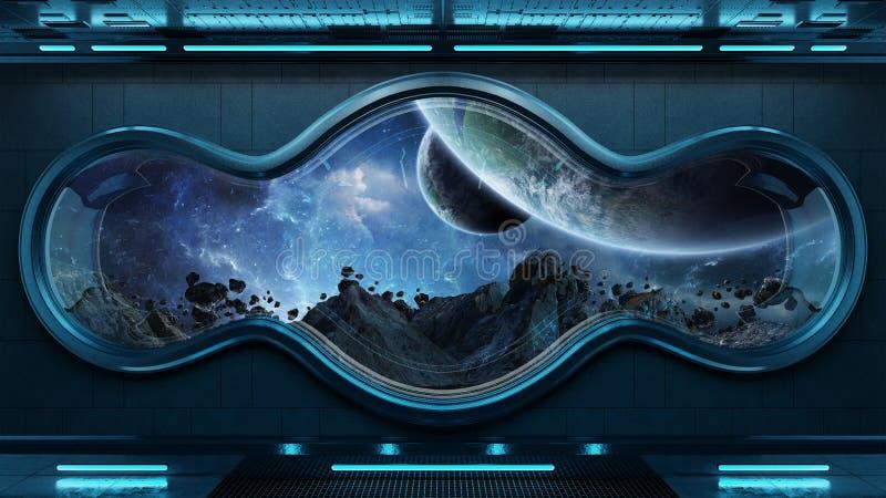 Czarnego technika statku kosmicznego tła 3D round nadokienny wewnętrzny renderi ilustracji