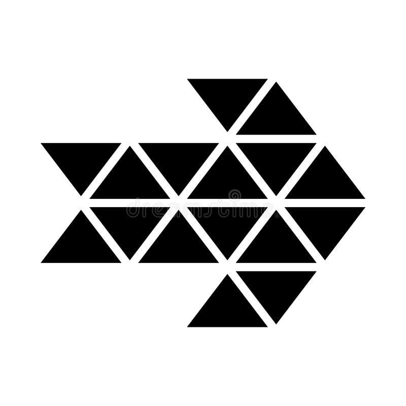 Czarnego trójboka strzałkowata ikona, prosty styl ilustracji