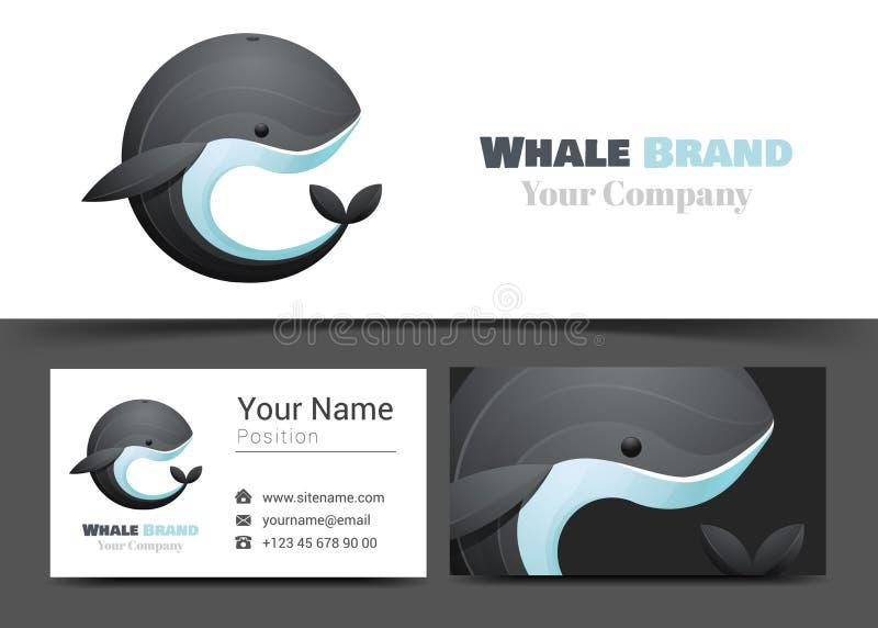 Czarnego wieloryba Korporacyjny logo i wizytówka Szyldowy szablon ilustracji