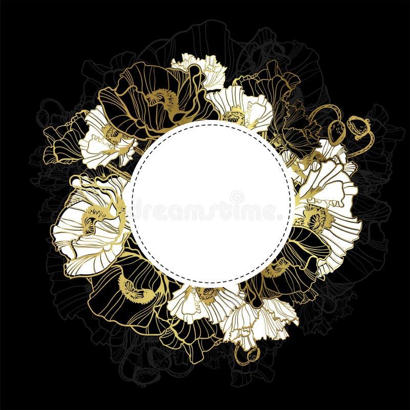 Czarnego złocistego wektor karty zaproszenia kwiecisty maczek royalty ilustracja