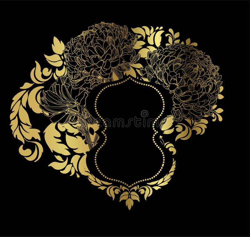 Czarnego złocistego wektor karty zaproszenia kwiecisty odosobniony royalty ilustracja