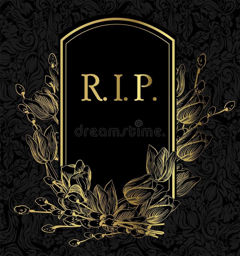 Czarnego złocistego wektor karty zaproszenia kwiecisty tło royalty ilustracja