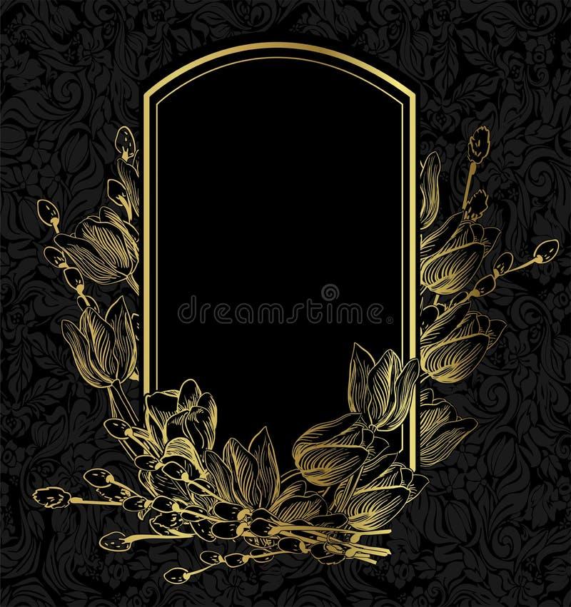 Czarnego złocistego wektor karty zaproszenia kwiecisty tło ilustracja wektor