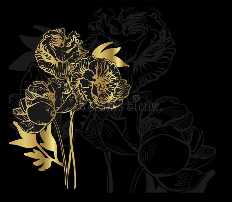 Czarnego złoto karty tła kwiecisty tło elegancki ilustracji