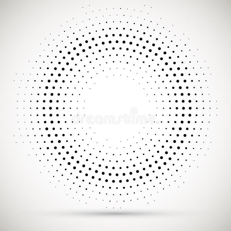 Czarnej abstrakcjonistycznej wektorowej okr?g ramy kropek logo emblemata projekta halftone element Zaokr?glona rabatowa ikona Odo royalty ilustracja