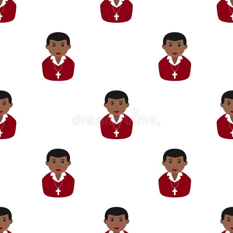 Czarnej Chrześcijańskiej chłopiec ikony Bezszwowy wzór ilustracja wektor