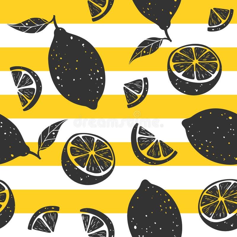 Czarnej cytryny bezszwowy wzór na żółtych i bielu lampasach również zwrócić corel ilustracji wektora ilustracji