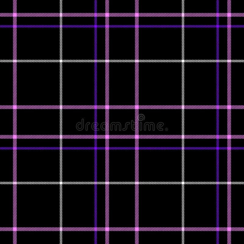 Czarnej czeka tartanu szkockiej kraty diamentowej tkaniny tekstury bezszwowy deseniowy tło royalty ilustracja
