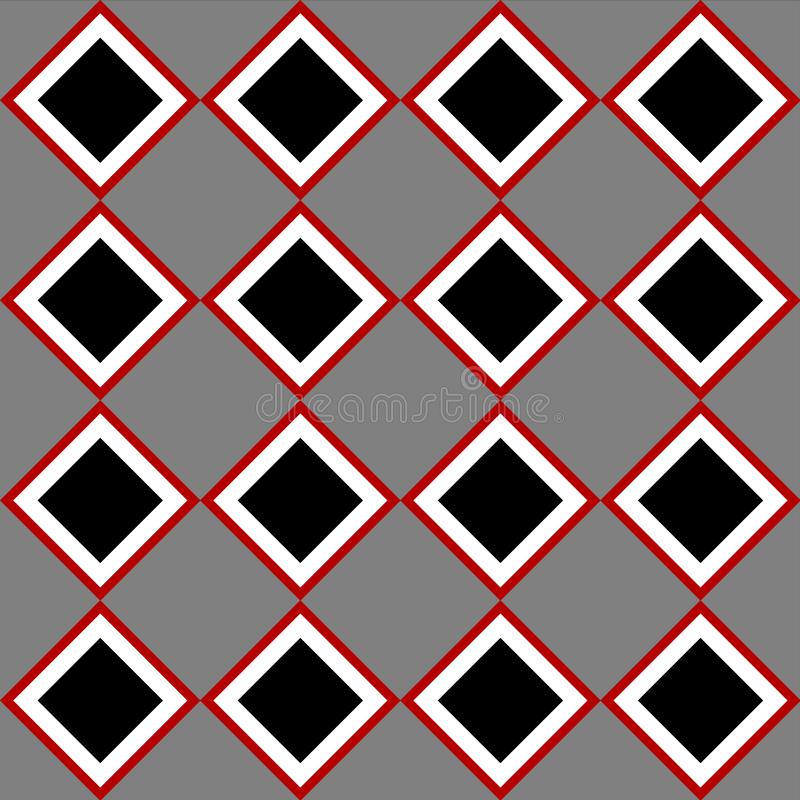 Czarnej czerwieni popielaty kwadrat tafluje w kratkę bezszwowego wzór ilustracji