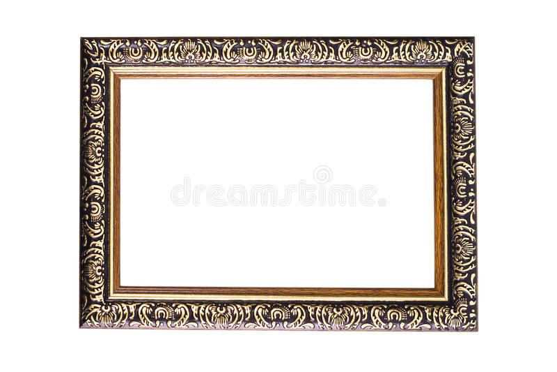 Czarnej drewnianej fotografii ramy odosobniony biały tło obraz royalty free