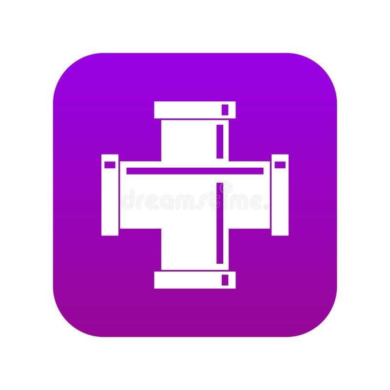 Czarnej fajczanego dopasowania ikony cyfrowe purpury royalty ilustracja
