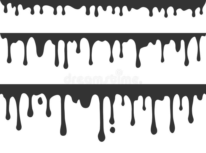 Czarnej farby kapiący wektorowy tło ilustracji