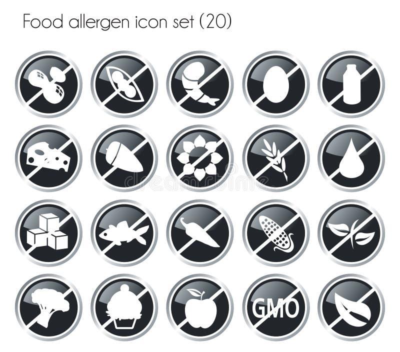 Czarnej guzika allergen karmowej ikony ustalony wektor ilustracji