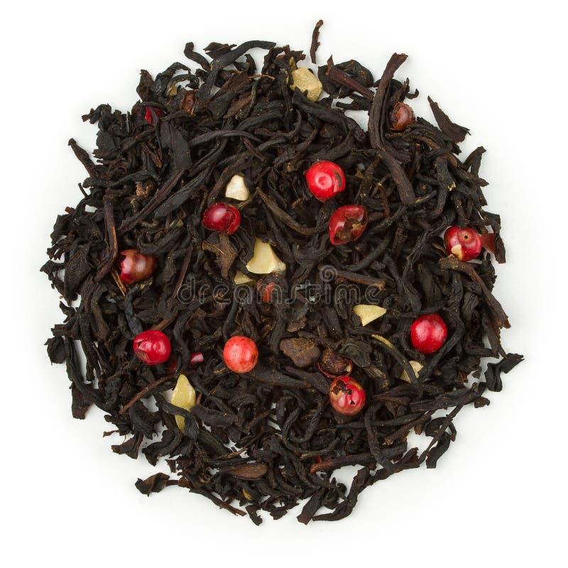 Czarnej herbaty cukierki marcepany fotografia royalty free